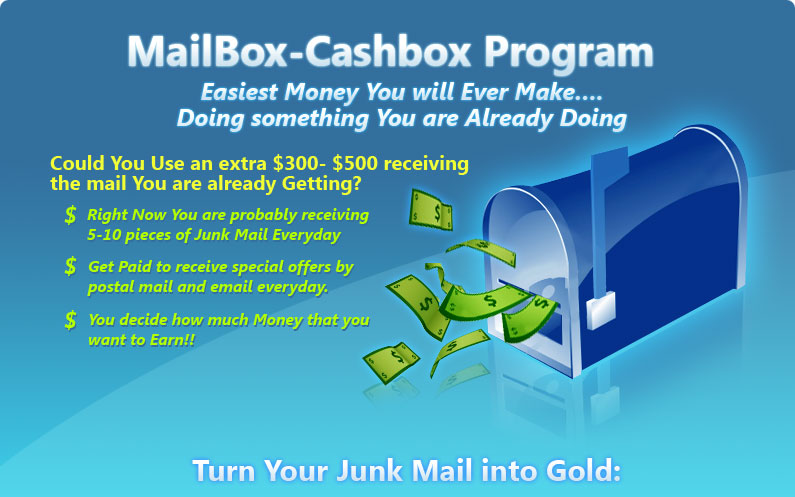 Mailbox-Cashbox Program. You Use an Extra $300-$500 per Week!
